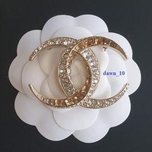 Chanel Moon Dubai Crystal Brooch, Gold
